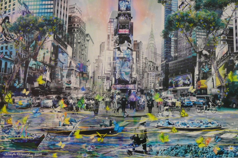 muurgrote fotobewerkingen van het leven in de straten van New York