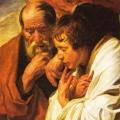 Evangelist Marcus met wit gewaad om schouders